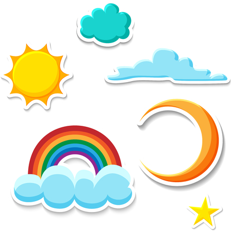 Sun, moon, star, clouds and rainbow stickers isolated on white background. Vector paper illustration.