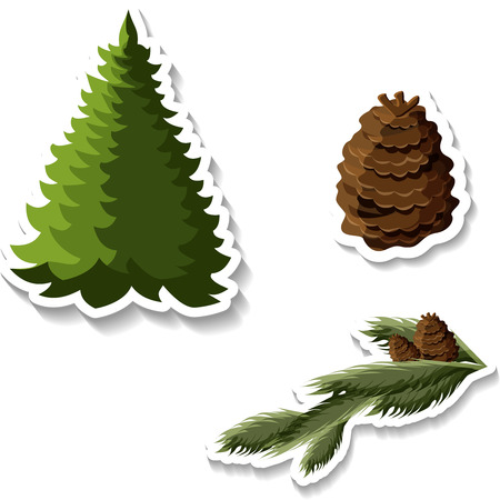 Fir-tree and cone stickers isolated on white background. Vector paper illustration. Illustration