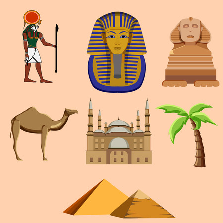 Egyptian isolated symbols: Great Sphinx, Mosque of Mohammed Ali, Pharaoh, pyramids. Vector illustration.