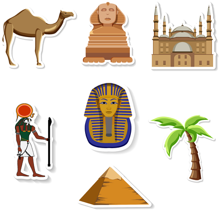 Egyptian stickers: Great Sphinx, Mosque of Mohammed Ali, Pharaoh, pyramid, palm, camel isolated on white. Vector illustration.   イラスト・ベクター素材