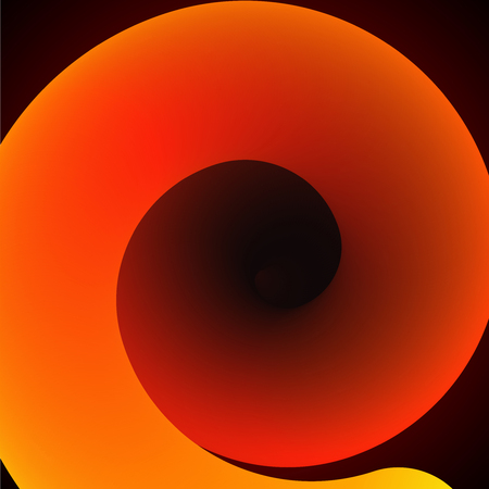 Orange abstract spiral on black background. Vector illustration.