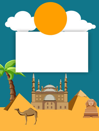 Egyptian background with mosque of Mohammed ali, Great Sphinx and pyramids. Vector illustration.