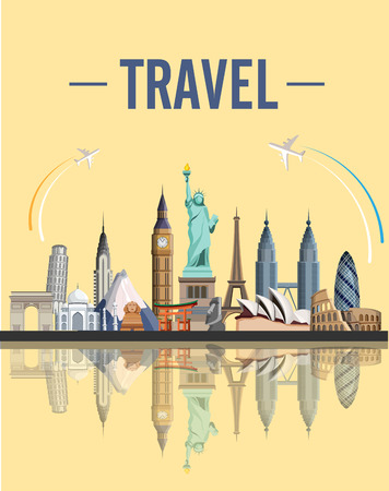 Yellow travel card with world famous sights and planes. Vector illustration.
