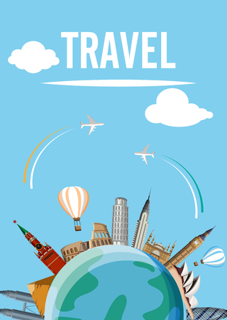 Blue world travel card with earth, famous sights and planes. Vector illustration.