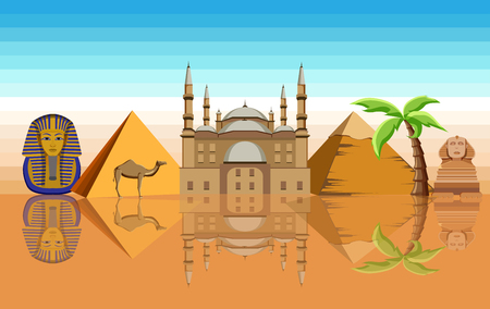 Egyptian background with Great Sphinx, Mosque of Mohammed Ali and pyramids. Vector illustration.  Illustration