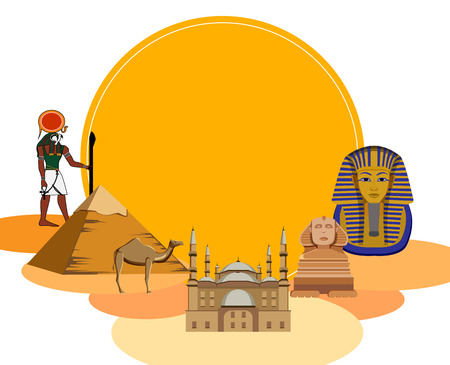 Egyptian background with Great Sphinx, Mosque of Mohammed Ali and pyramids. Vector illustration.