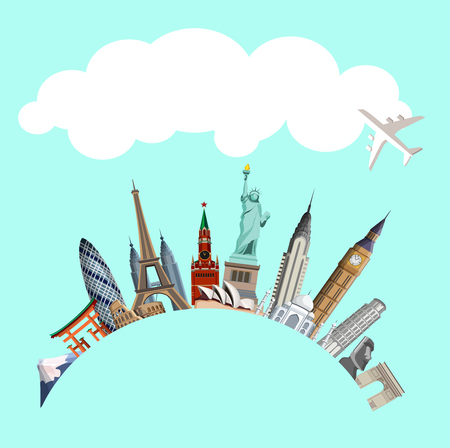 Green creative travelling background with world famous sights and plane. Vector illustration. Illustration