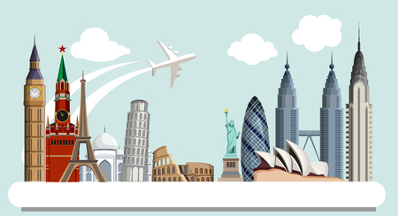 Travelling background with world famous sights and plane. Vector illustration.