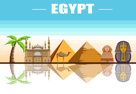 Egyptian background with Great Sphinx, Mosque of Mohammed Ali and pyramids. Vector illustration.   イラスト・ベクター素材