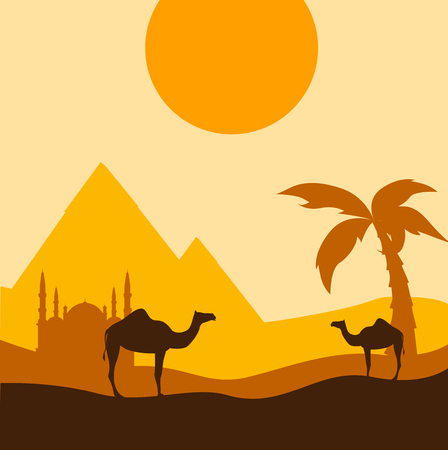 Egyptian background with camels, Mosque of Mohammed Ali and pyramids. Vector illustration.