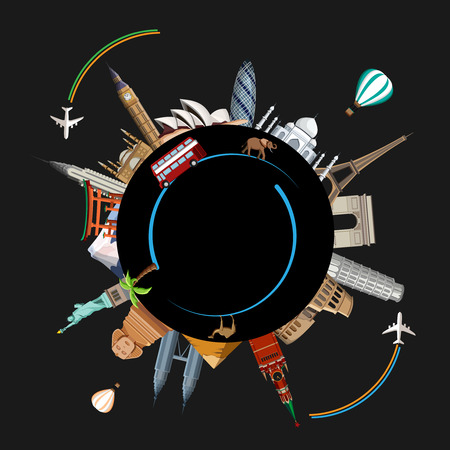 Black round travel background with world famous sights and planes. Vector illustration.