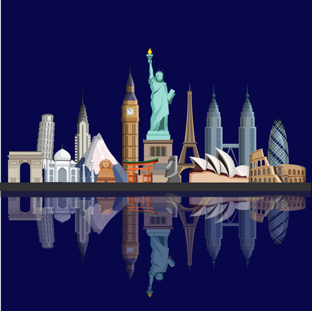 Blue glossy travel background with world famous sights. Vector illustration.