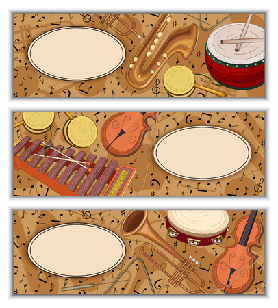 Set of colorful banners with notes pattern and musical instruments. Vector music illustration.