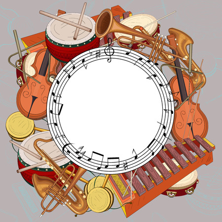 White round background with notes and musical instruments on grey. Vector music illustration.