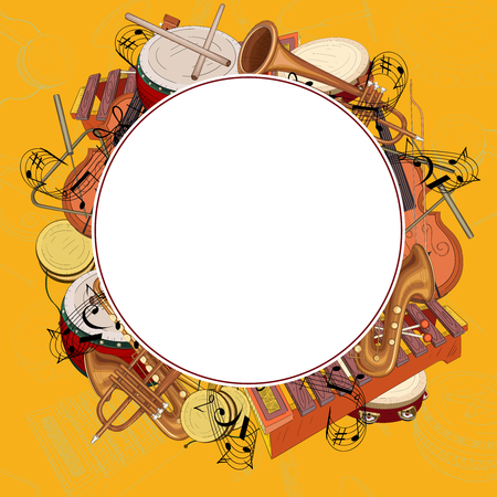 White round background with notes and musical instruments on orange. Vector music illustration.