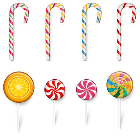 Color sweet lollipops and canes set isolated on white background. Vector illustration.