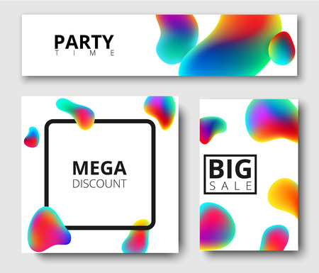 Mega discount, party time, big sale white isolated cards with colour bubbles. Vector paper illustration.