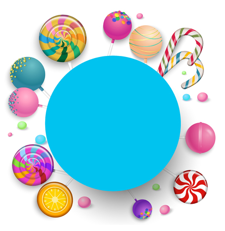 Blue round frame with bright color sweet lollipops on white background. Vector illustration.