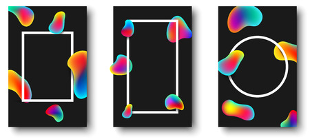 White frames with abstract rainbow drops on black background. Vector illustration.