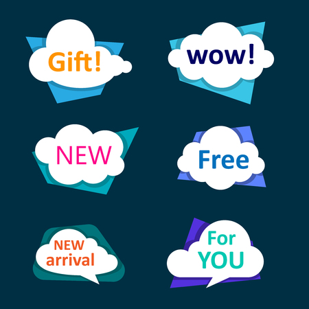 White shoppind cloud labels isolated on blue background. Vector illustration.