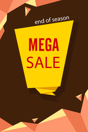 Yellow and brown mega sale end of season poster. Vector paper illustration.