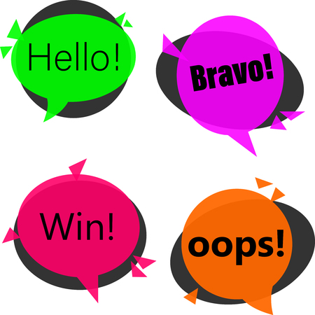 Colorful win, hello, bravo and oops replicas isolated on white background. Vector illustration.