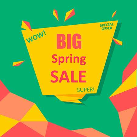 Green and yellow big spring sale special offer poster. Vector paper illustration.