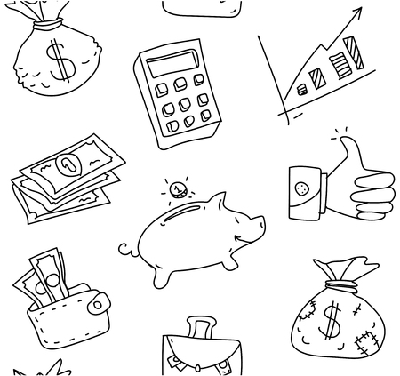 Sketch seamless pattern with financial symbols on white background. Vector paper illustration.
