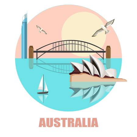 Round Australian Sydney background with Opera House and Harbor Bridge. Vector illustration.