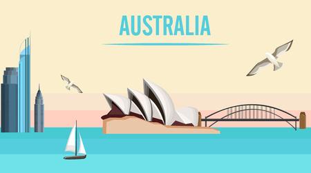 Australian Sydney background with Opera House and Harbor Bridge. Vector illustration.  イラスト・ベクター素材