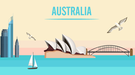 Australian Sydney background with Opera House and Harbor Bridge. Vector illustration.  イラスト・ベクター素材