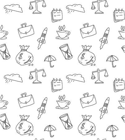 Sketch seamless pattern with business symbols on white background. Vector paper illustration. 일러스트