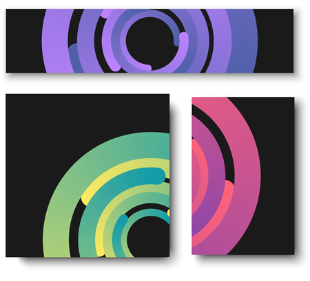 Drei schwarze Hintergründe mit lila, rosa und grünen Kreismustern. Vektorillustration.