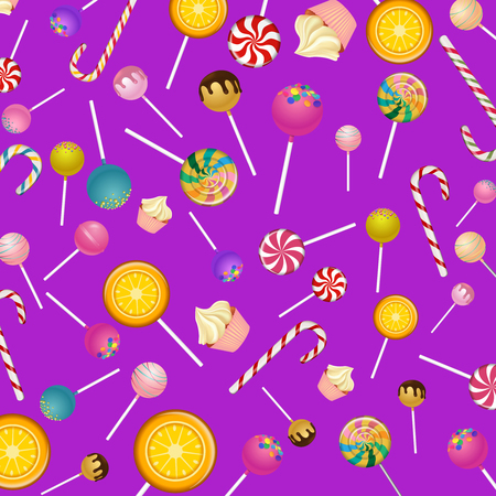 Lilac background with bright color lollipops and canes pattern. Vector illustration.