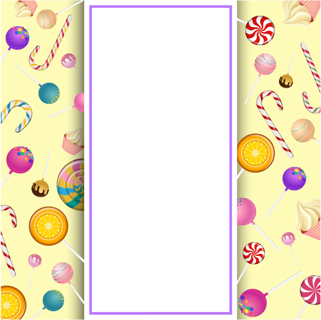 White frame on yellow background with bright color lollipops and canes. Vector paper illustration.