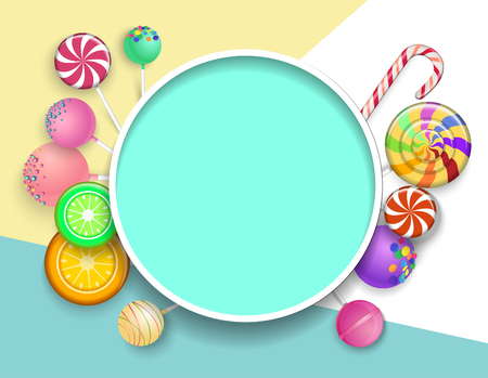 Green round frame with bright lollipops on colorful background. Vector illustration. Çizim