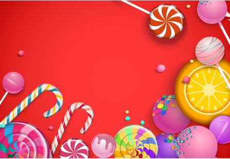 Red background with bright colorful 3d lollipops. Vector illustration.