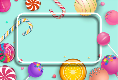 Green background with white frame and bright colorful 3d lollipops. Vector illustration.