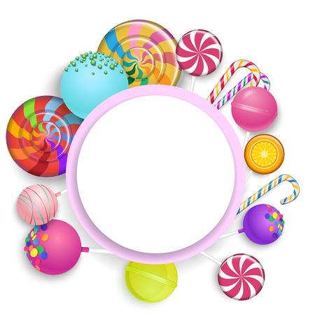 White round background with bright colorful 3d lollipops. Vector paper illustration.