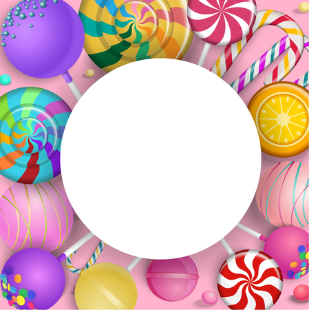 White round frame with bright colorful lollipops on pink background. Vector illustration.