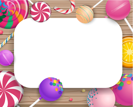 White frame with bright colorful 3d lollipops on wooden textured background. Vector illustration.