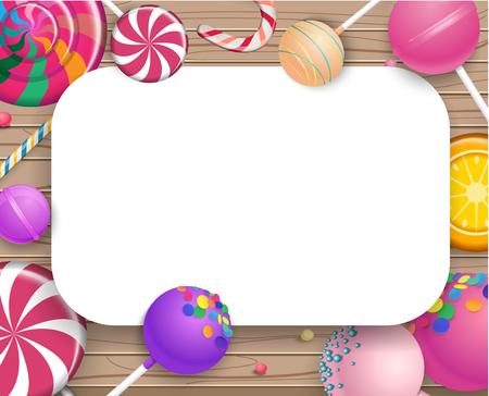 Cadre blanc avec des sucettes 3d colorées lumineuses sur fond texturé en bois. Illustration vectorielle. Banque d'images - 102401241