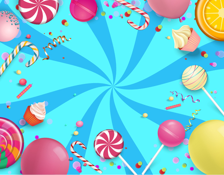 Blue festive striped background with bright colorful lollipops, balloons and serpentine. Vector illustration. Çizim