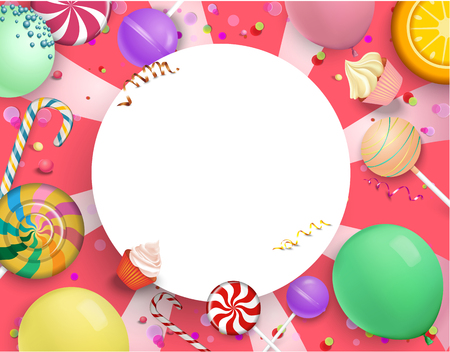 White round festive frame with bright colorful lollipops, balloons and serpentine on pink background. Vector illustration.
