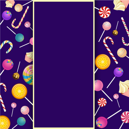 Purple background with frame, bright color lollipops and canes. Vector illustration.