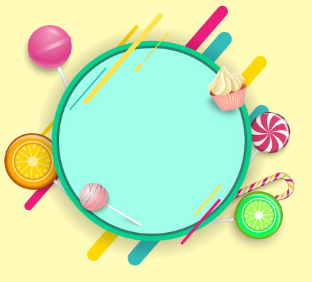 Green round frame on yellow background with bright color lollipops. Vector paper illustration.