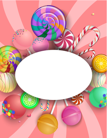 Pink oval frame on striped background with bright colorful lollipops and canes. Vector paper illustration.