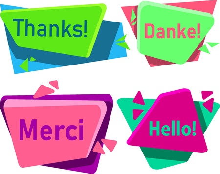 Colorful greeting merci, danke, thanks and hello signs isolated on white background, French, German. Vector illustration.