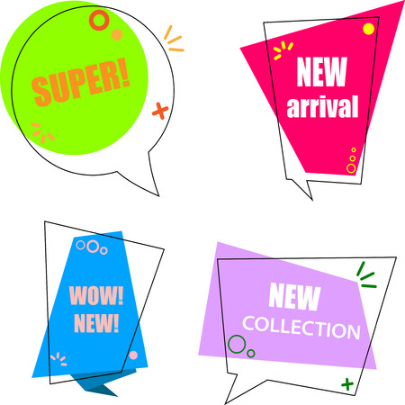 Four colorful speech new collection shopping labels isolated on white background. Vector illustration.  Illustration