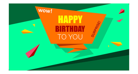Bright green and orange Happy Birthday to you background. Vector paper illustration.
